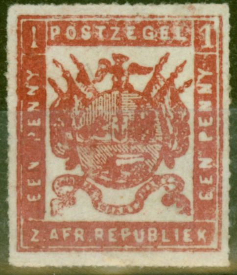Rare Postage Stamp from Transvaal 1870 1d Crimson Over Inked Plate SG18b Good Unused
