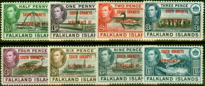 Collectible Postage Stamp from South Orkneys 1944 Set of 8 SGC1-C8 Good MNH