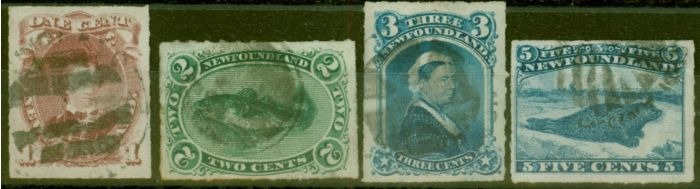 Rare Postage Stamp from Newfoundland 1876-79 Roulette set of 4 SG40-43 Good Used