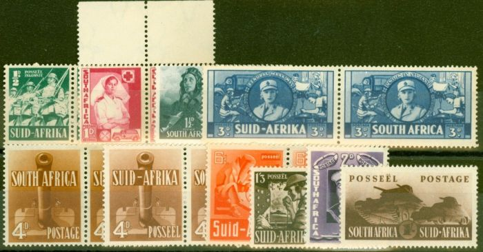 Valuable Postage Stamp from South Africa 1941-46 War Effort set of 10 Both Shades of 4d SG88-96 + SG92a Fine Mtd Mint