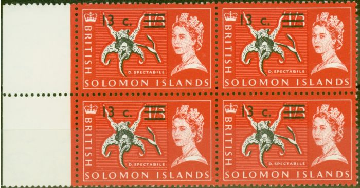 Old Postage Stamp from Solomon Is 1966 13c on 1s3d Black & Rose-Red SG145B Superb MNH Block of 4