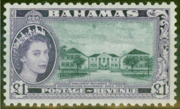 Collectible Postage Stamp from Bahamas 1954 £1 Slate-Black & Violet SG216 V.F MNH