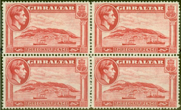 Valuable Postage Stamp from Gibraltar 1938 1 1/2d Scarlet SG123 P.14 V.F MNH & LMM Block of 4
