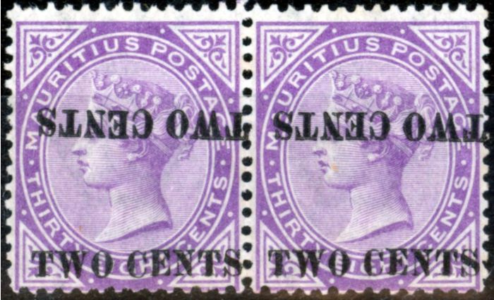 Rare Postage Stamp from Mauritius 1891 2c on 38c Brt Purple SG121c Surch Double One Inverted V.F MNH & VLMM Pair BPA Cert Scarce
