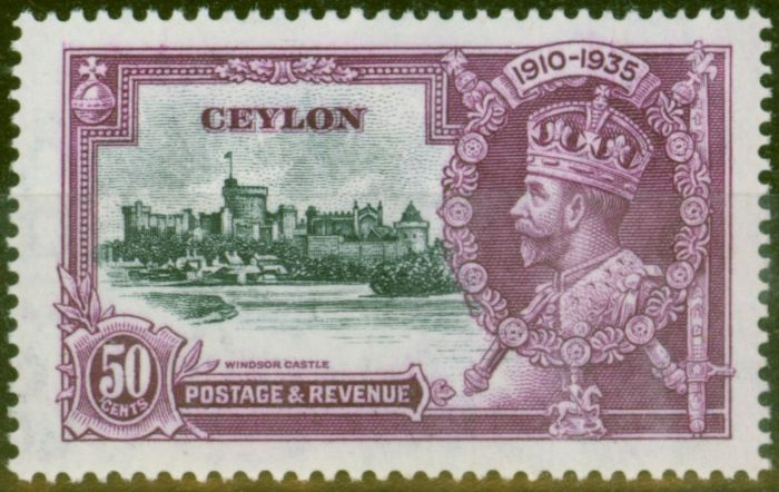 Collectible Postage Stamp from Ceylon 1935 50c Slate & Purple SG382f Diag Line by Turret V.F Lightly Mtd Mint