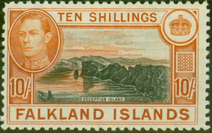 Old Postage Stamp from Falklands Islands 1938 10s Black & Orange-Brown SG162 Fine Very Lightly Mtd Mint