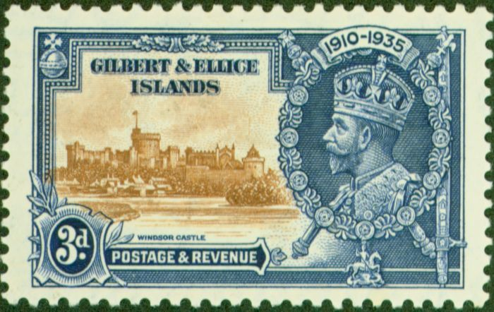 Old Postage Stamp from Gilbert & Ellice Is 1935 3d Brown & Dp Blue SG38d Flagstaff on R.H Turret Fine Mtd Mint