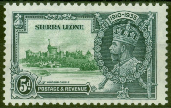 Old Postage Stamp from Sierra Leone 1935 5d Green & Indigo SG183a Extra Flagstaff Fine Lightly Mtd Mint