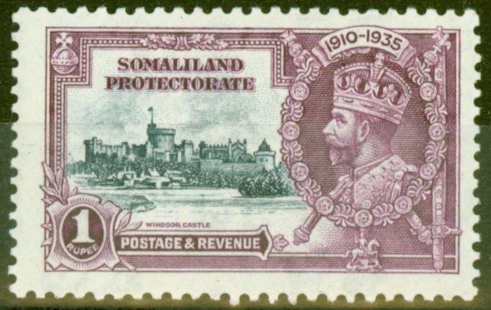 Old Postage Stamp from Somaliland 1935 1s Slate & Purple SG82L Kite & Horiz Log Fine Very Lightly Mtd
