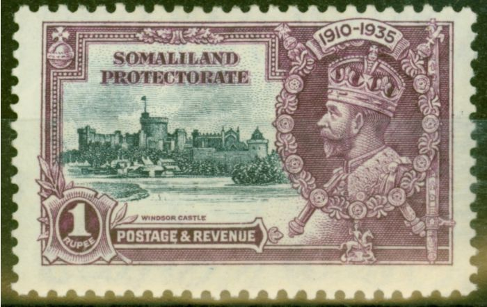 Valuable Postage Stamp from Somaliland 1935 1R Slate & Purple SG89K Kite & Vertical Log Fine Mtd Mint