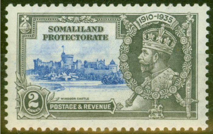 Collectible Postage Stamp from Somaliland 1935 2a Ultramarine & Grey SG87K Kite & Vertical Log Fine Mtd Mint