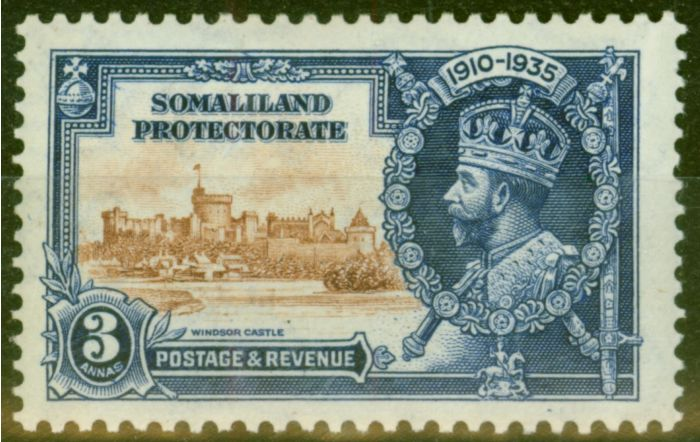 Collectible Postage Stamp from Somaliland 1935 3a Brown & Dp Blue SG88L Kite & Horiz Log Fine Mtd Mint