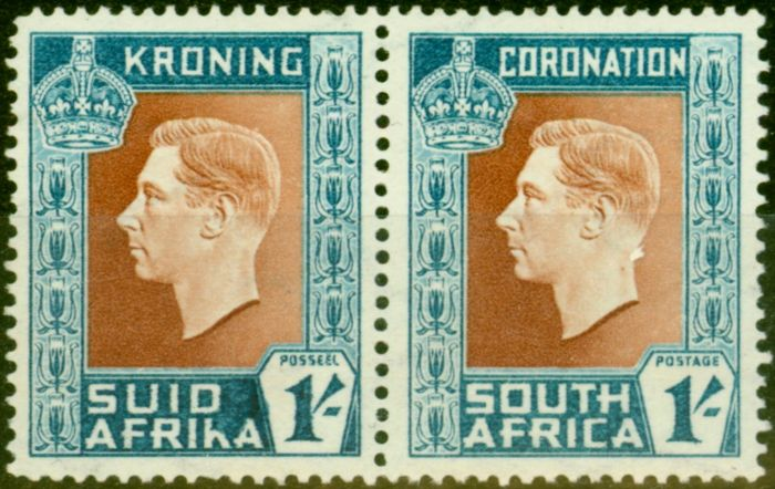 Old Postage Stamp from South Africa 1937 1s Red-Brown & Turq-Blue SG75a Hyphen Omitted Fine MNH