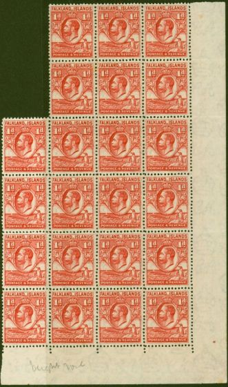 Rare Postage Stamp from Falkland Islands 1936 1d Dp Red SG117a Line Perf Fine MNH Block of 22