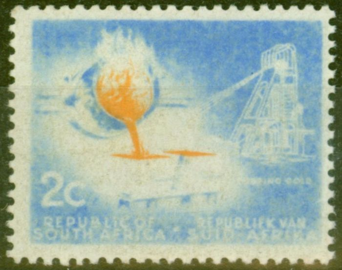 Valuable Postage Stamp from S.Africa 1963 2c Ultramarine & Yellow SG212var Very Dry Print  Missing Colours
