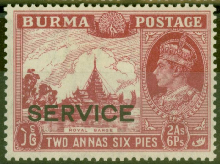 Collectible Postage Stamp from Burma 1939 2a 6p Claret SG021 V.F Lightly Mtd Mint
