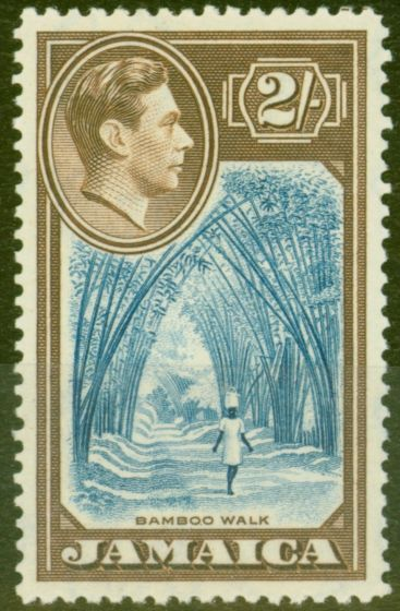 Collectible Postage Stamp from Jamaica 1938 2s Blue & Chocolate SG131 V.F MNH