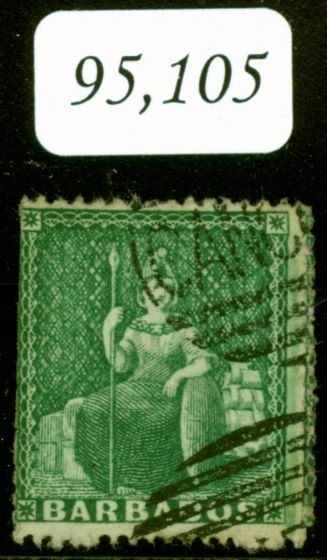 Valuable Postage Stamp from Barbados 1861 (1/2d) Dp Green SG17 Perkins Bacon CANCELLED Handstamp Newly Discovered Major Rarity