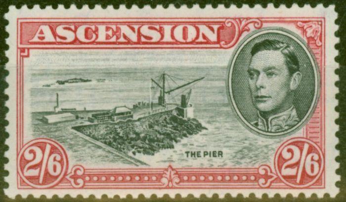 Rare Postage Stamp from Ascension 1944 2s6d Black & Dp Carmine SG45c P.13 V.F MNH
