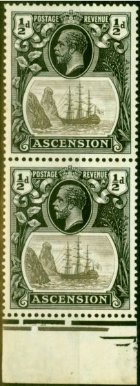 Rare Postage Stamp from Ascension 1924 1/2d Grey & Black SG10B Torn Flag Fine VLMM in Pair with Normal
