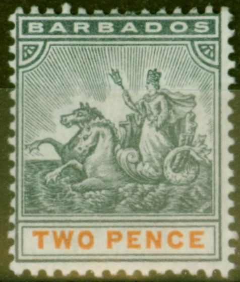 Valuable Postage Stamp from Barbados 1899 2d Slate-Black & Orange SG108 Fine Mtd Mint