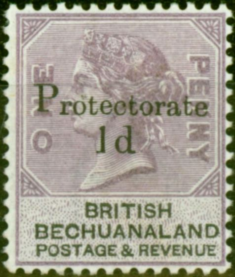 Collectible Postage Stamp from Bechuanaland 1888 1d on 1d Lilac & Black SG41Var Broken Foot to 1 Fine & Fresh Mtd Mint