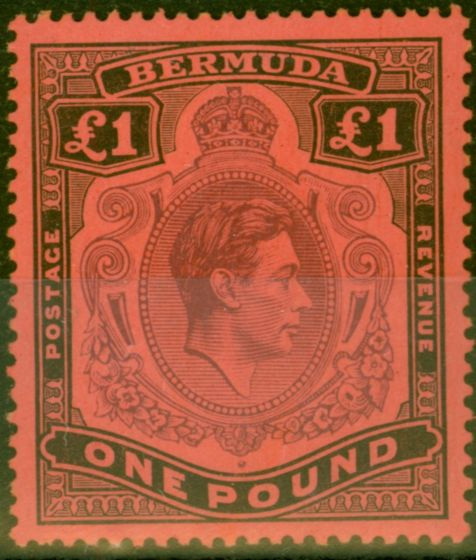 Collectible Postage Stamp from Bermuda 1938 £1 Purple & Black-Red SG121 Fine Mtd Mint