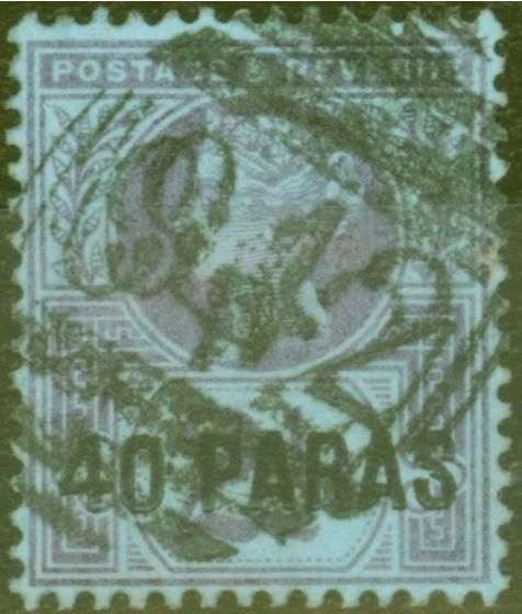 Rare Postage Stamp from British Levant 40pa on 2 1/2d Purple-Blue Used in LARNACA Cyprus 942 Duplex applied twice  Rare