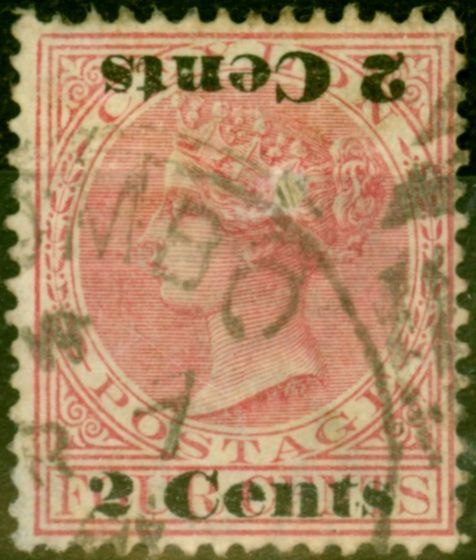 Ceylon 1888 2c on 4c Rose SG211c Surch Double One Inverted Good Used