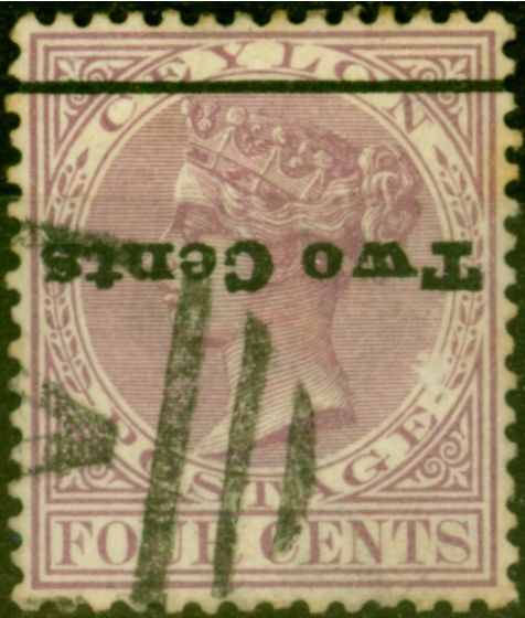Ceylon 1888 2c on 4c Rosy Mauve SG208a Surch Inverted Fine Used