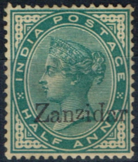 Collectible Postage Stamp from Zanzibar 1895 1/2a Blue-Green SG3j Zanzidar error Fine Unused