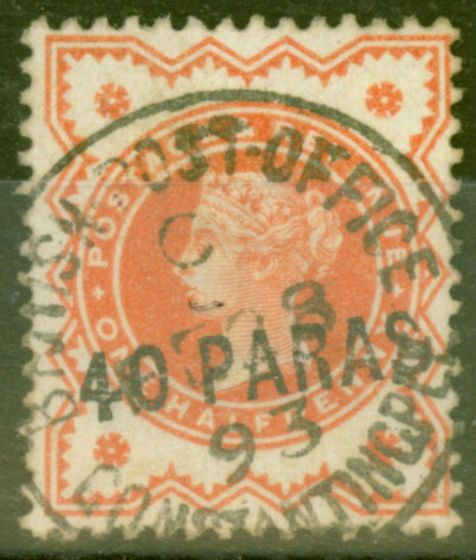 Old Postage Stamp from British Levant 1893 40pa on 1/2d Vermilion SG7 Genuine Fine Used Example FE 28