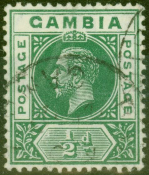 Rare Postage Stamp from Gambia 1912 1/2d Dp Green SG86var Deformed B in GAMBIA V.F.U