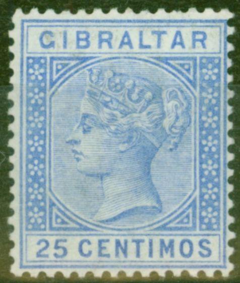 Valuable Postage Stamp from Gibraltar 1889 25c Ultramarine SG26 Fine Very Lightly Mtd Mint