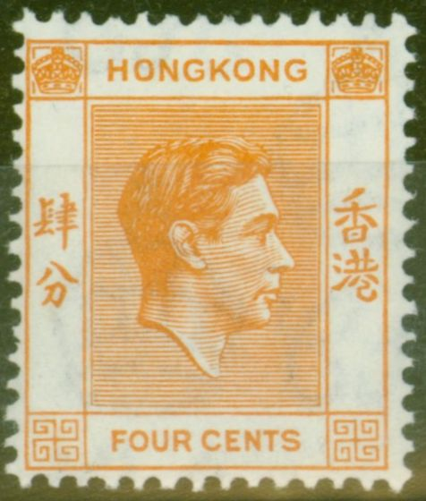 Collectible Postage Stamp from Hong Kong 1938 4c Orange SG142 V.F Very Lightly Mtd Mint