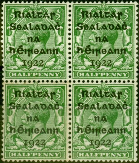 Collectible Postage Stamp from Ireland 1922 1/2d Green SG1 Fine MNH & Lightly Mtd Mint Block of 4