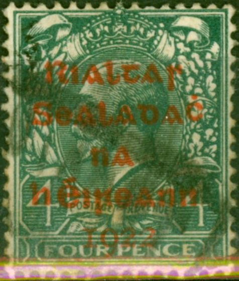 Old Postage Stamp from Ireland 1922 4d Grey-Green SG6c Carmine Opt Good Used