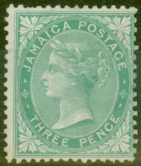 Rare Postage Stamp from Jamaica 1870 3d Green SG10 Fine Mtd Mint