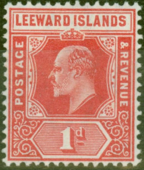 Old Postage Stamp from Leewards Is 1907 1d Brt Red SG38 Fine Lightly Mtd Mint
