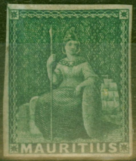 Collectible Postage Stamp from Mauritius 1858 Green SG27 Fine Mtd Mint
