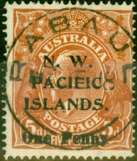New Guinea 1918 1d on 5d Brown SG100 Very Fine Used (2)