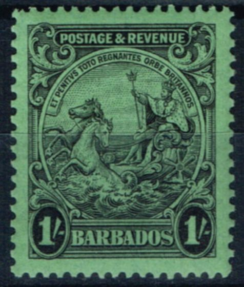 Collectible Postage Stamp from Barbados 1932 1s Black-Emerald SG237a P.13.5 x 12.5 Fine Lightly Mtd Mint