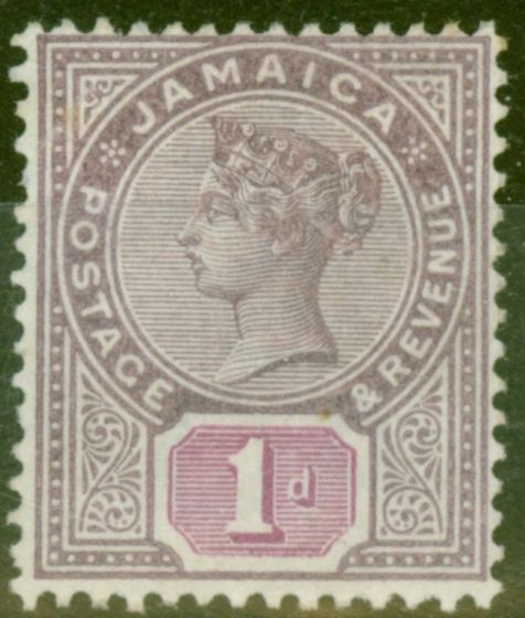 Rare Postage Stamp from Jamaica 1898 1d Purple & Mauve SG27 Fine Mtd Mint