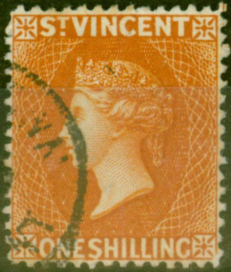 Old Postage Stamp from St Vincent 1883 1s Orange-Vermilion SG45 Fine Used