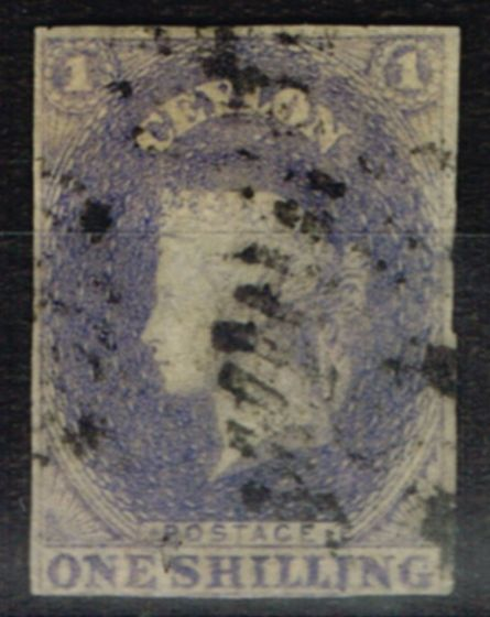 Valuable Postage Stamp from Ceylon 1857 1s Slate Violet SG10 Fine Used