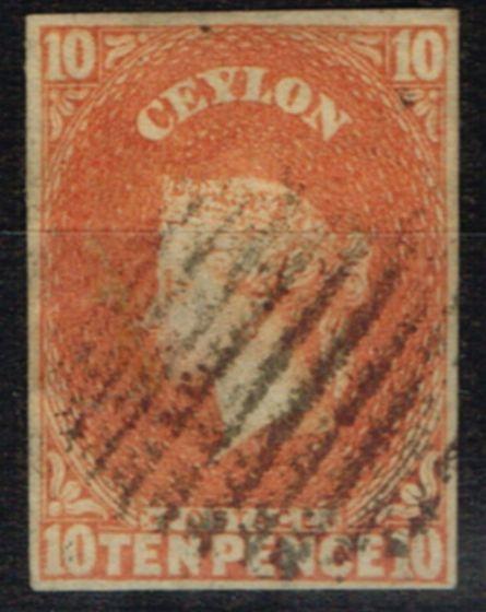 Rare Postage Stamp from Ceylon 1857 10d Dull Vermilion SG9 V.F.U