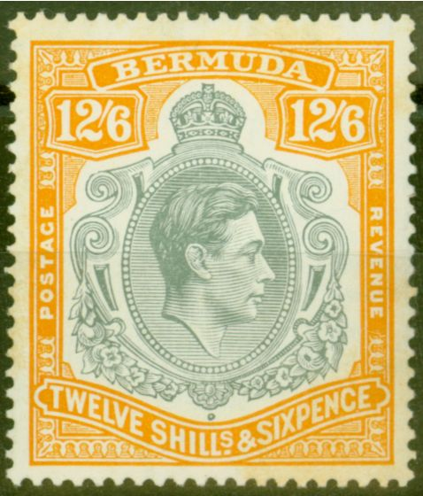 Rare Postage Stamp from Bermuda 1940 12s6d Grey & Pale Orange SG120b Fine MNH