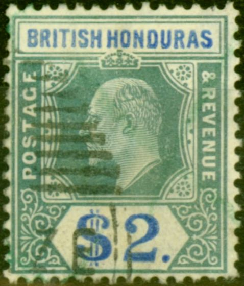 Valuable Postage Stamp from British Honduras 1907 $2 Grey-Green & Blue SG92 Fine Used