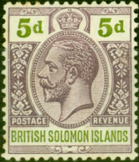 Rare Postage Stamp from British Solomon Is 1914 5d Dull Purple & Olive-Green SG30 Fine Mtd Mint