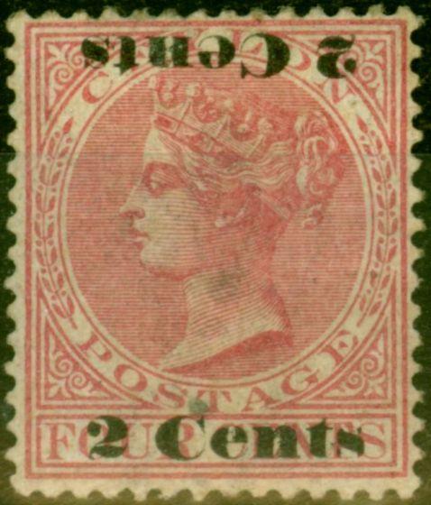 Ceylon 1888 2c on 4c Rose SG211c Surch Double One Inverted Good Mtd Mint